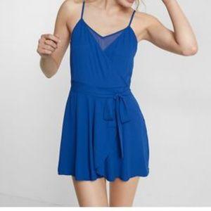 Blue express faux wrap chiffon romper size 0